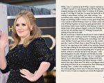 阿黛爾(又譯:愛黛兒)的第三張專輯籌備了三年多,她還在臉書和官網寫了一封長信獻給歌迷,分享她的創作心情。(Getty Images,facebook/大紀元合成)