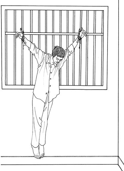 中共酷刑示意圖:吊銬(上大掛)(明慧網)
