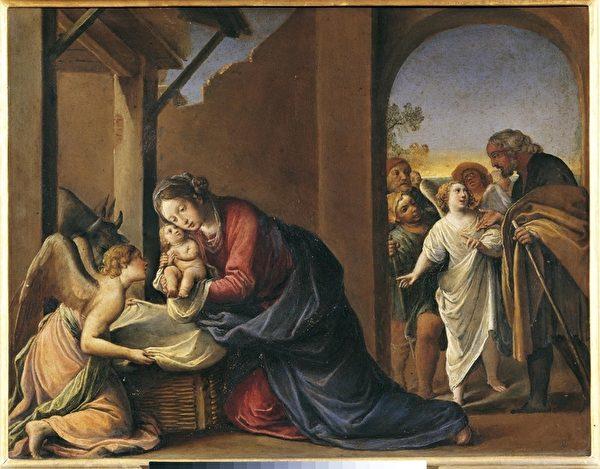 烏菲茲美術館珍藏的意大利文藝復興時期巴洛克風格的畫家Alessandro Tiarini 作品「耶穌降生」(Nativity of Jesus)。(烏菲茲美術館提供)