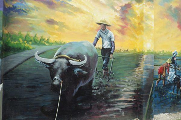 彩繪早期農村耕田,牛與農夫和諧的景象。(廖素貞/大紀元)