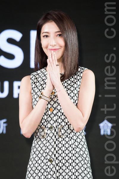藝人楊謹華11月11日在台北出席新品發表會。(陳柏州/大紀元)