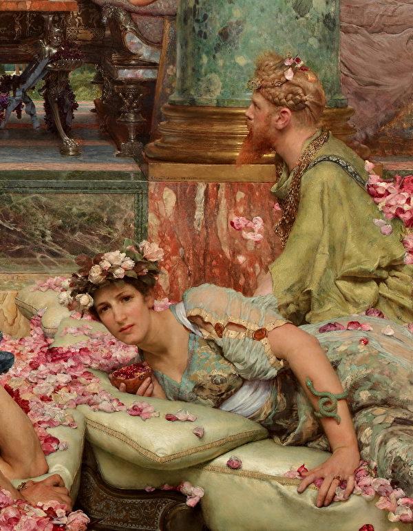 劳伦斯.阿玛.泰德玛 《埃琉卡巴勒斯的玫瑰》局部, 右方着绿色衣服的男子为画家的自我投射:一个清醒的旁观者。 (维基百科公共领域)