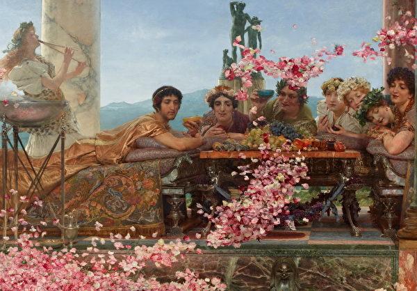 """《埃琉卡巴勒斯的玫瑰》局部,穿金色长袍的罗马皇帝埃琉卡巴勒斯冷漠注视着即将""""灭顶""""的宾客。(维基百科公共领域)"""