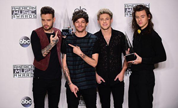 单向乐队收获了年度最佳组合、最受欢迎流行乐队两项大奖。(FREDERIC J. BROWN/AFP/Getty Images)
