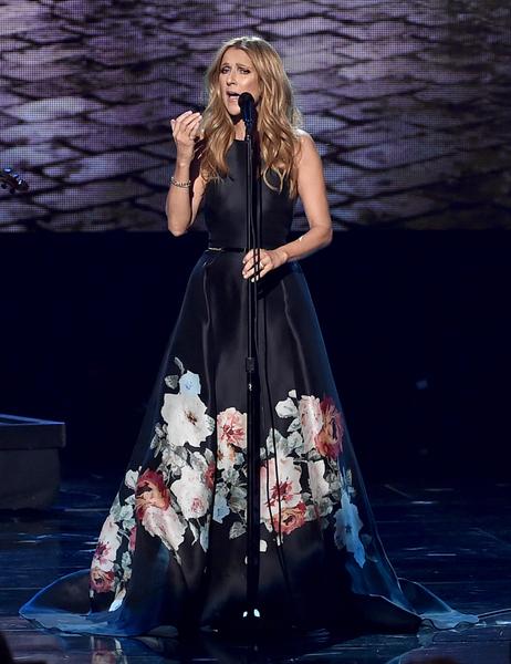 全美音乐奖颁奖礼,席琳‧迪翁献唱,悼念巴黎爆炸枪击事件中逝去的人们。(Kevin Winter/Getty Images)