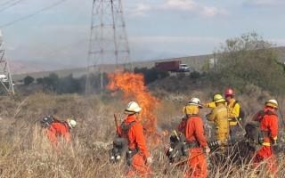 605高速南向Arrow出口燃野火 只燒1/4畝