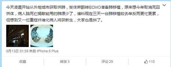 陈静瑜的新浪微博@陈静瑜肺腑之言,2015年8月13日截图。(追查国际)