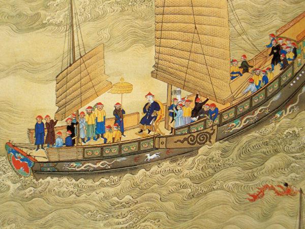 康熙大帝 船上旅行,繪於18世紀。(維基百科公共領域)