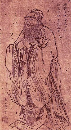 唐吳道子繪孔子行教像拓本。(公有領域)