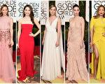 第73屆金球獎頒獎禮,眾星亮相紅毯。(Getty Images/大紀元合成)