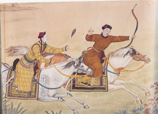《威弧获鹿图》,乾隆皇帝行猎,郎世宁绘。(维基百科公共领域)