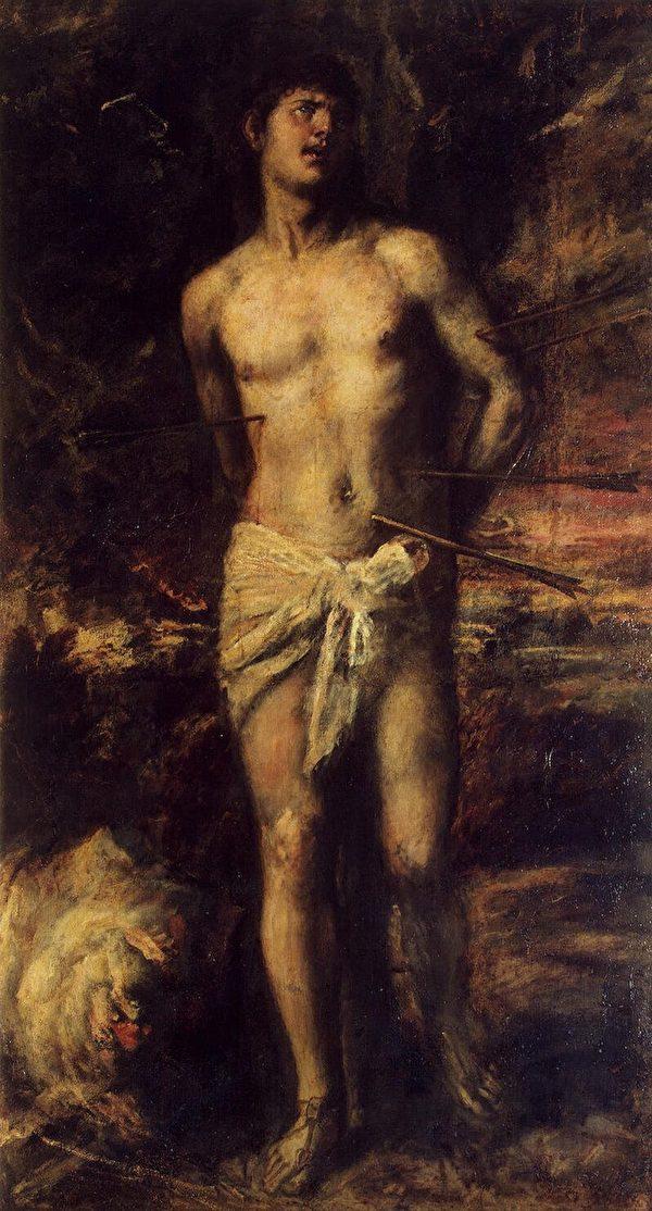 提香的另一幅《圣塞巴斯蒂安》,圣彼得堡艾尔米塔什博物馆藏。(维基百科公共领域)