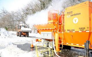 紐約市清潔局開動融雪機 加快化雪