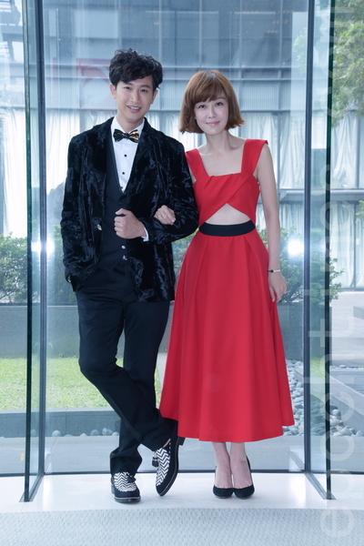 八点接档华剧《大人情歌》于2016年1月27日在台北举行媒体见面会。图左起为Darren、李维维。(黄宗茂/大纪元)