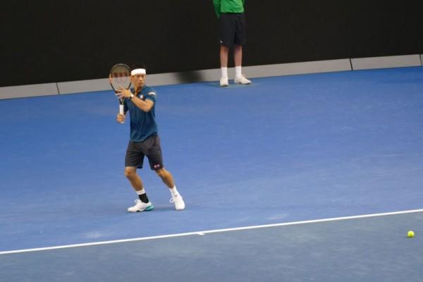 日本選手錦織圭(Kei Nishikori)在比賽中。(燕楠/大紀元)