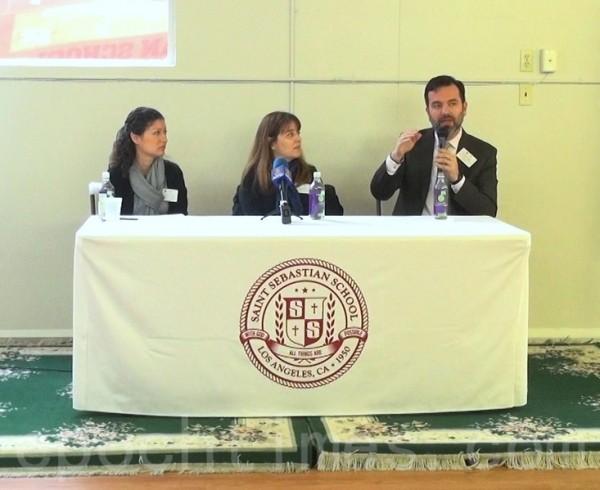 1月23日在洛杉磯Saint Sebastian小學,專家們表示沉浸式雙語課程對所有族裔孩子都有好處。左起哈蒂(Patricia S. Harty)、莫拉加(Olga G. Moraga)與卡吉格斯 (Xavier E. Cagigas)。(薛文/大紀元)