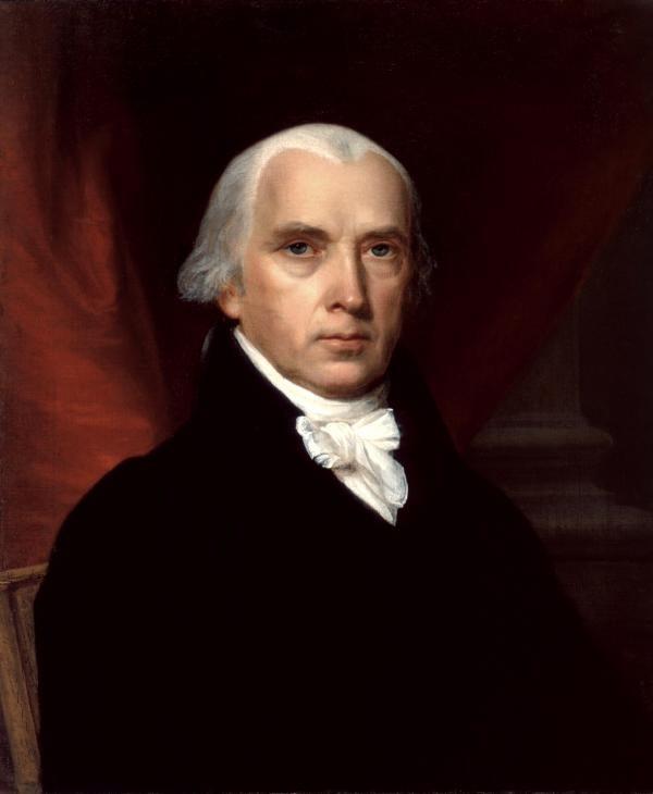 第四任总统詹姆斯‧麦迪逊、美国宪法第一版本作者。(维基百科公共领域)