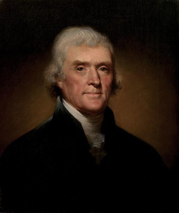 托马斯.杰斐逊(Thomas Jefferson)画像。(维基百科公共领域)