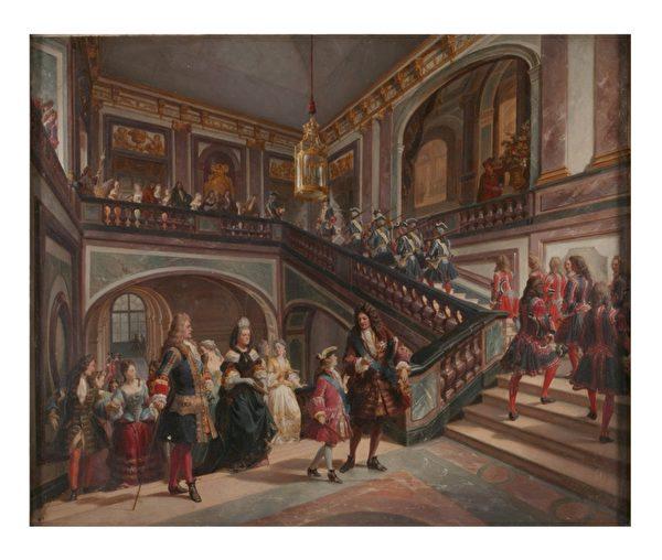 《凡尔赛宫的少年路易十五》by Felix Philippoteaux(公有领域)