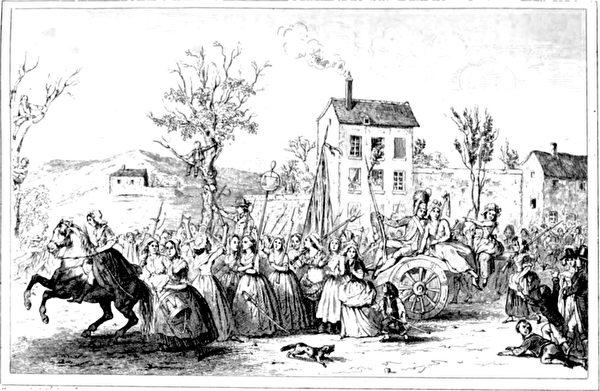遊行婦女在行進在去凡爾賽的路上受到圍觀者的歡呼(1842年插畫)(公有領域)