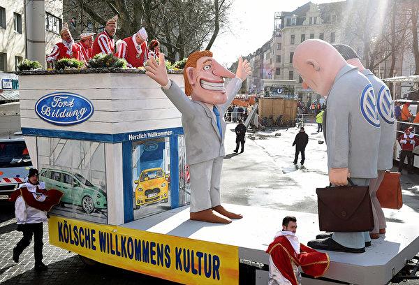 諷刺大眾尾氣門醜聞的花車。(Volker Hartmann/Getty Images)