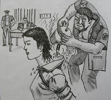 中共酷刑示意圖:熱水燙(明慧網)