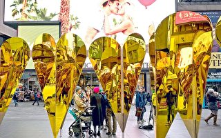 情人节至 纽约时代广场心形镜折射浪漫