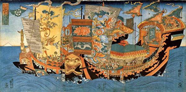 徐福渡海帆船的浮世繪(公共領域)