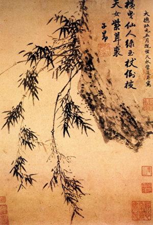 趙孟頫題管道昇《石坡垂竹圖》。(公有領域)