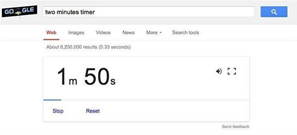 在谷歌搜索上輸入一段固定的時間,例如:two minutes timer(兩分鐘定時器),在兩分鐘到了之後,谷歌就會發出像鬧鐘「嗶、嗶」的鈴聲。(凌妃/大紀元)