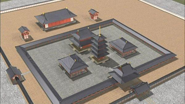 飞鸟寺复元图(公共领域)