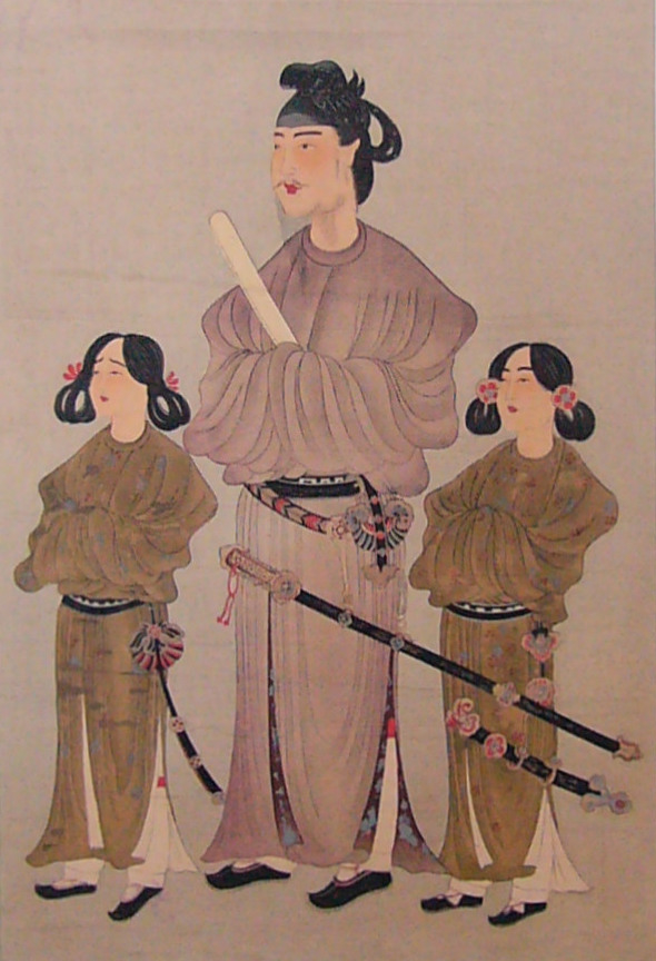 """""""唐本御影"""",圣德太子(中)及其皇弟殖栗皇子(左)和长子山背大兄王(右)的肖像画。雕版印刷画,公元8世纪。(公共领域)"""