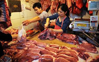 大陸豬肉價格飛漲,3月份第三週同比增長超過35%。(Peter PARKS/AFP)