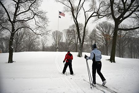 滑雪愛好者在紐約中央公園一顯身手。(Astrid Riecken/Getty Images)