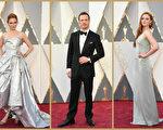 2016年2月28日,莉莉‧科爾、邁克爾‧法斯賓德和索菲‧特納亮相第88屆奧斯卡頒獎禮紅毯。(Getty Images/大紀元合成)