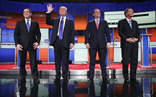參加3月3日共和黨底特律大選辯論會的4名選將。左至右:盧比奧、川普、科魯茲、卡西奇。(Chip Somodevilla/Getty Images)