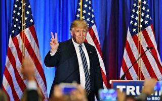 在3月5日「超級星期六」初選中,美國共和黨參選人川普拿下兩州。圖為川普於投票結果出爐時,在記者會上發表講話。 (Joe Raedle/Getty Images)