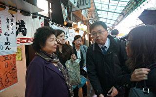 陈菊偕同海洋局及农渔团体,赴日参访筑地鱼市场。(高市经发局提供)