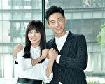 華劇《1989一念間》主要演員蔡黃汝(左)與張立昂出席活動照。(三立提供)