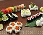 Mikomi Sushi由廚師嚴選當季的海鮮料理,製作的各種壽司。(徐曼沅/大紀元)