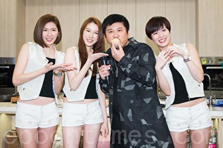女團喬紫喬3月14日在台北發行首張EP,藝人胡瓜(右2)站台支持。(陳柏州/大紀元)