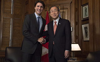 P今年2月,潘基文訪問加拿大,與特魯多一起在新聞發布會上。自由黨有意加強加拿大在聯合國的地位。(加通社)