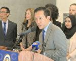 3月16日,州眾議員邱信福表示,亞裔細分提案並非SCA-5。(林驍然/大紀元)