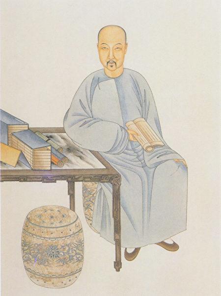 納蘭性德像(清楊鵬秋繪) 。(公共領域)