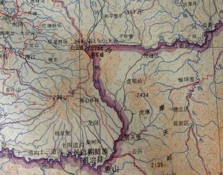 1969年版中图地图吉林省图。(网路图片)