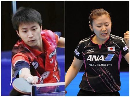 日本知名度最高的美女桌球选手福原爱与台湾桌球选手江宏杰两人在2016年里约奥运之后结婚。(中央社、GettyImages/大纪元合成)