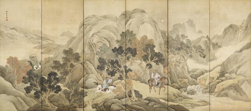 《蕭何追韓信圖》,日本江戶時代畫家與謝蕪村繪,京都野村美術館藏。(公有領域)