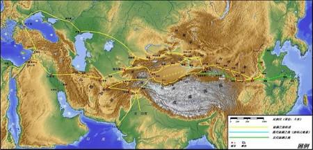 陸路絲綢之路的路線圖。(Refrain/維基百科)