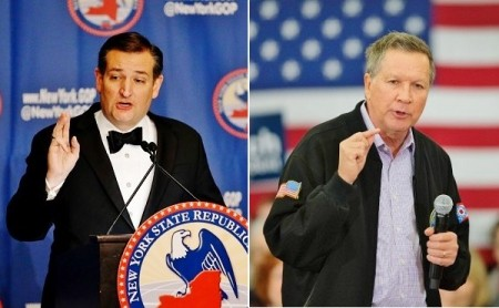 科鲁兹(Ted Cruz)与卡西奇(John Kasich)。(Getty Images/大纪元合成)