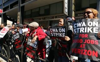 威瑞森4万员工美东游行罢工 桑德斯声援